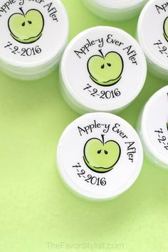 "Are you looking for Apple-y Ever After favors to share the taste of your day? Start with these apple theme party favors. Click to see how we can personalize yours for girls weekends and bachelorettes, too! One of our customers said, ""The lip balms have arrived and I absolutely LOVE them!! Thank you so much for your kindness and promptness."" #bridalshower, #partyfavors, #girlsnight, #appletini, #personalized Apple Theme Parties, Party Themes, Party Ideas, Bridal Shower Favors, Party Favors, Green Apple Wedding, Apple Invitation, Bachelorette Gifts, Lip Balms"