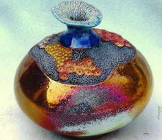 M.Wein Raku with coral carving now in Newcastle Regional Art gallery colection