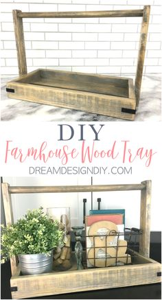 Build a DIY rustic farmhouse wood tray out of scrap wood. This wood tray makes a great centerpiece on a coffee or kitchen table, kitchen island or counter. It works perfect to display all of your favorite decor items together. #farmhouse #farmhousestyle #farmhousetray #woodtray #scrapwood #homedecor