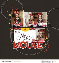 We Love Miss Mouse - Minnie Disney digital scrapbooking layout using the Project Mouse (See Ya Real Soon) by Britt-ish Designs and Sahlin Studio Pocket Page Scrapbooking, Digital Scrapbook Paper, Digital Scrapbooking Layouts, Disney Scrapbook, Element Project, Goodbye For Now, See Ya, Disney Vacations, Journal Cards