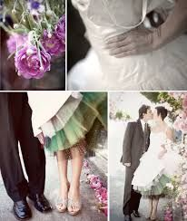 Image result for wedding dress with colored tulle underneath