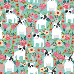 french bulldogs bulldog florals flowers vintage mint sweet spring flowers fabric by petfriendly on Spoonflower - custom fabric