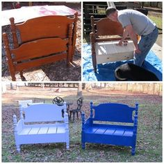 Old twin bed frame, new bench. Diy Furniture Projects, Refurbished Furniture, Repurposed Furniture, Furniture Makeover, Painted Furniture, Wood Projects, Bed Frame Bench, Headboard Benches, Diy Bench