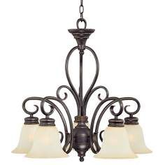 Five Light Scavo Glass Black with Gold Accents Chandelier