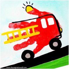 Preschool Fire Truck Craft Handprint Art · The Inspiration Edit Toddler Art, Toddler Crafts, Crafts For Kids, Arts And Crafts, Easy Crafts, Fire Truck Craft, Fire Crafts, Transportation Crafts, Truck Crafts
