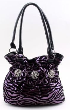 Purple on Black Zebra Print Tote bag with Rhinestone Centered Rosettes $29.99