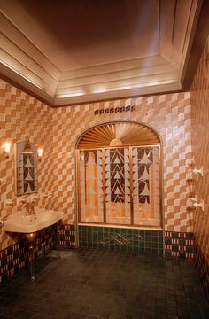 The Art Deco bathroom of the executive suite on the 52nd floor of the Chanin Building designed by Jacques Delamarre in 1929 The tiles were by the...