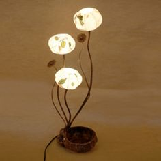 Korean Mulberry Paper Table Lamp Shade with Three Leaf Design Lights