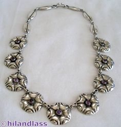 1930'S VTG MEXICO MEXICAN STERLING SILVER REPOUSSE & AMETHYST NECKLACE