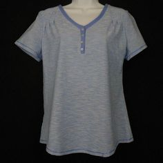 Croft Barrow Sleepshirt Multi Color Size S Cotton Blend Striped Pajama Top - Be comfortable wearing this womens Henley-style v-neck  sleepshirt featuring short sleeves and a shirttail hem,  both with durable and decorative flatlock stitching.