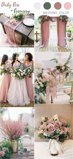 dusty rose and greenery wedding color combos spring wedding ideas Top 6 Dusty Rose Wedding Color Palette Inspiration Spring Wedding Decorations, Spring Wedding Colors, Green Wedding Themes, Wedding Colors For Spring, September Wedding Colors, Blush Wedding Theme, Pastel Wedding Colors, Rustic Wedding Colors, Spring Wedding Inspiration