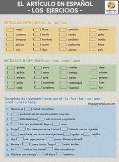 ejercicios artículo en español