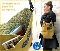 Canvas Slim Bag with Elbow Patch Corners - awesome overlapping design means very organized interior. Need at least one larger slot for kids' layers. Purse Patterns, Sewing Patterns Free, Free Pattern, Diy Sac, Craft Bags, Fabric Bags, Sew Bags, Sewing Projects For Beginners, Handmade Bags