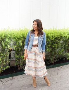casual fall outfit | striped midi dress | jean jacket | Texas Fashion Blog Lady in Violet