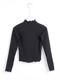 Lettuce Edge Rib Top -SheIn(Sheinside) Teacher Style, Ribbed Top, Professional Outfits, Top P, Lettuce, Bell Sleeve Top, Turtle Neck, Sweaters, T Shirt