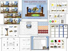 The Napping House by Audrey Wood is a delightful children's book that features a granny, a child, a dog, a cat, a mouse and a pesky flea who spend the day sleeping through the rain.   This literature unit is filled with six different follow-up activities and games to target listening, language and literacy!
