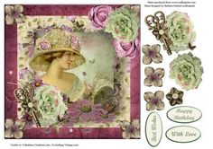 Rose Victorian Lady Portrait with Decoupage on Craftsuprint designed by Barbara Hiebert - This is a card topper, with rose and flowerbrad decoupage,and a photo of a VictorianLady,To make this card sheet, print on quality paper,and cut all pieces out, use your favorite method for assembling the layers,such as foam squares, measure and fit onto a blank card, with DSTape, and add the sentiment tag if you wish.Enjoy. - Now available for download!