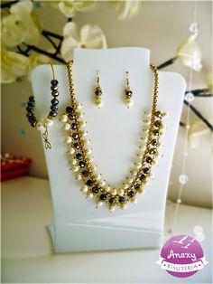Juego étnico #03 - Collar de perla de río, cristales  y chapa de oro - Bisutería y Accesorios Anexy