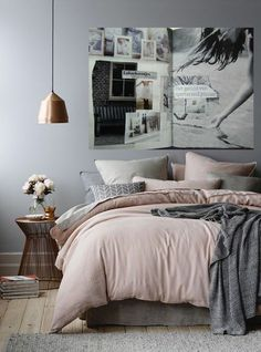 Wonderful Tips: House Interior Painting White living room paintings with wood trim.Bedroom Paintings Geometric interior painting tips thoughts.Interior Painting Tips People. Dream Bedroom, Home Bedroom, Master Bedrooms, Grey Wall Bedroom, Blush Bedroom Decor, Scandi Bedroom, Copper Bedroom Decor, Bedroom Ideas Grey, Modern Grey Bedroom