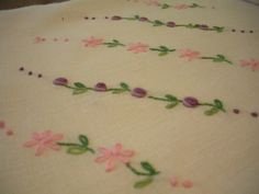 Sweet Vintage Table Cloth with Pink and by WhereTheRoosterCrows, $10.00