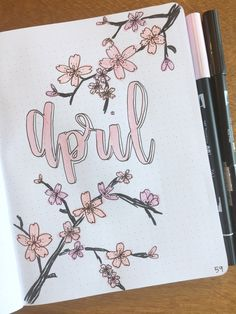 April bullet journal title page #bulletjournal #cherryblossoms #bujo #bujoinspire #journaling