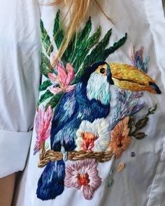 Colorful Custom Embroidered Clothing by Lisa Smirnova Hand Embroidery Videos, Embroidery On Clothes, Embroidered Clothes, Embroidery Fashion, Embroidery Patterns, Contemporary Embroidery, Bird Ornaments, Knitting Charts, Diy Arts And Crafts