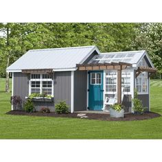Base Model Includes: 8 Pitch Metal Roof Loft Potting Shed Porch Set of Large Shutters Shown with Options: Double Window, Stained Pergola Flowerbox Transom Windows in Storage Areas Backyard Storage Sheds, Backyard Sheds, Shed Storage, Outdoor Sheds, Greenhouse Shed Combo, Backyard Greenhouse, Pergola, Shed Homes, Decorated Cookies