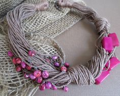 Fuchsia Tagua Nut  Agait Beads Brown Linen Necklace by ArteTeer, $35.00
