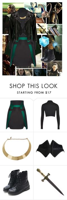 """Loki cosplay"" by ginaisanerd ❤ liked on Polyvore featuring Antonio Berardi, Topshop, Dorothy Perkins, Alaïa, Whetstone Cutlery and VIPARO"
