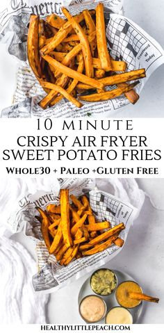 10 Minute Air Fryer Crispy Sweet Potatoes These air fryer sweet potato fries are so crispy and mouthwatering. To add even more flavor, dip them in any 4 of my savory Majestic Sauces. They are Paleo, and Gluten-Free. This image has get 2144 re Sweet Potato Fries Healthy, Air Fryer Sweet Potato Fries, Air Fryer Fries, Frozen Sweet Potato Fries, Crispy Sweet Potato, Sweet Potato Recipes, Healthy Fries, Vegan Quesadilla, Vegetarian Recipes