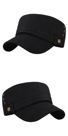 ff8c8ae872a Men s Cotton Flat Top Peaked Baseball Twill Army Millitary Corps Hat Cap  Visor (Black-