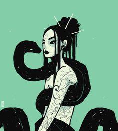 Tattoo Character, Character Art, Aesthetic Drawing, Aesthetic Art, Drawing People, People Drawings, Snake Girl, Snake Drawing, Creepy Art