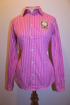 Ralph lauren top s purple blue navy stripe crest long for Pink and purple striped rugby shirt