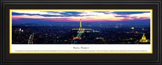 Paris Skyline Panoramic Picture Framed, France