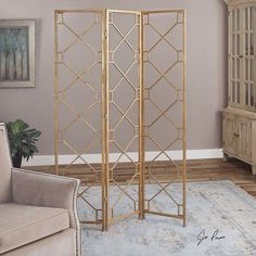 Not just for breaking up the room our Lakaya Gold 3 Panel Screen adds architectural interest to any space.