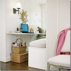 Organized Dormer Window Office...always wondered what ppl use those little slices of space for..