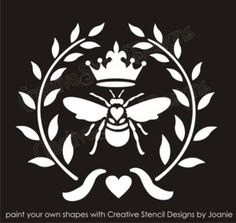 Item stencil is x - image size tall x wide, Bee tall x wide, Crown tall x wide. item stencil size x - image size tall x wide, Bee tall x wide, Crown tall x wide. Stencil Patterns, Stencil Designs, Bee Stencil, Skull Stencil, Foto Transfer, Bee Art, Bee Design, Bee Happy, Bees Knees