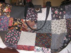 Charm Square Black Knitting/Crochet Tote Bag by JDCreativeHands, $43.00