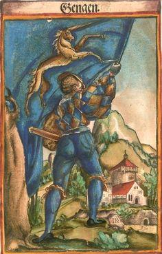 """Giengen an der Brenz [Gengen] (f°99) -- Koebel, Jacob, """"Wapen des heyligen römischen Reichs teutscher Nation"""", Franckfurth am Main, 1545 [BSB Ms. Rar. 2155]"""