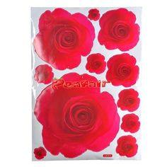 Reusable Removable Romantic Rose Pattern Decorative Wall Sticker - Red (50 x 70cm) [32022b] - $8.07 : Peafair