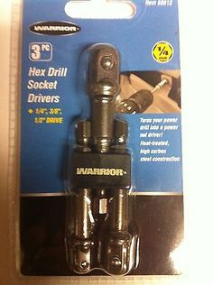 WARRIOR-3-PC-HEX-DRILL-SOCKET-NUT-DRIVER-SET-1-4-3-8-1-2-DRIVE-NEW-IN-PACKAGE