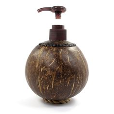 Coconut Shell Bottle with Pump, Holds 150 ml. of Liquid
