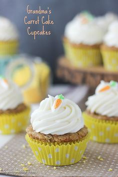 Grandma's Best Ever Carrot Cake Cupcake- super moist and topped with whipped cream cheese frosting.