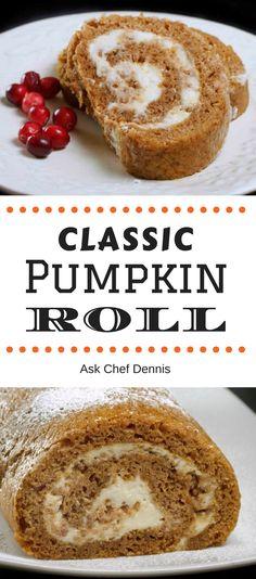 Classic Pumpkin Roll with Cream Cheese Filling Recipe Chef Dennis Classic Pumpkin Roll sweet treats fall desserts creamy yummy Fall Dessert Recipes, Fall Desserts, Fall Recipes, Delicious Desserts, Yummy Food, Dessert Ideas, Cupcake Recipes, Cake Ideas, Chips
