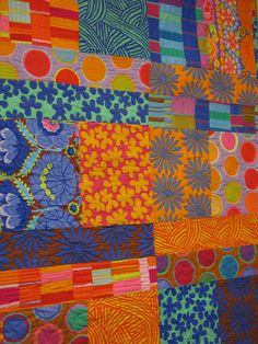 wReckless Rectangles made from my original pattern! Love the freedom of Kaffe Fassett's designs! Lets me practice a lot of organic, free motion quilting!