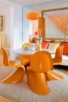 Orange mod furnishings