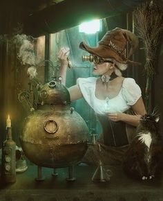 witch, cauldron and cat Fisane #Digitalart   #Steampunk