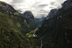 View of the Naeroy Valley from the Stalheim Hotel in Norway.  The most memorable part of this visit was the bus ride down the mountain on the windingest, steepest, road in all of Norway, in a big bus!! God bless bus drivers around the world!