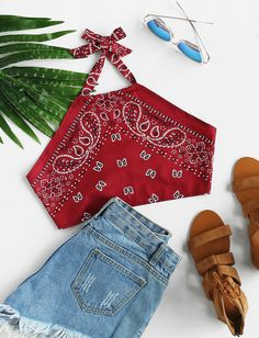 SheIn offers Vintage Print Crop Halter Top & more to fit your fashionable needs. Source by - Teenage Outfits, Teen Fashion Outfits, Outfits For Teens, Girl Outfits, Fashion Dresses, Cute Casual Outfits, Cute Summer Outfits, Summer Wear, Jugend Mode Outfits