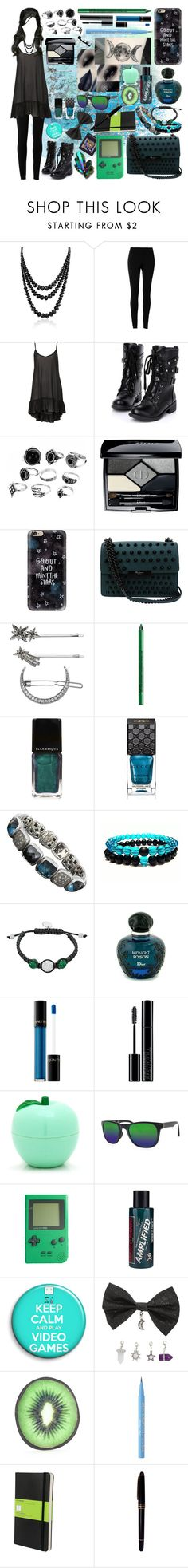 """""""they're green with envy that she's blue as the sea"""" by ashleythesm ❤ liked on Polyvore featuring Tokyo Rose, Bling Jewelry, Max Studio, Christian Dior, Casetify, Foley + Corinna, Simply Vera, NYX, Illamasqua and Gucci"""